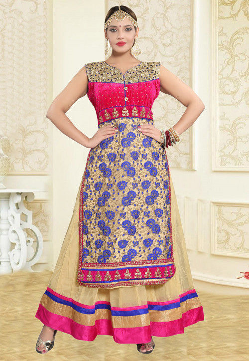 Embroidered Net Abaya Style Suit in Fuchsia and Beige