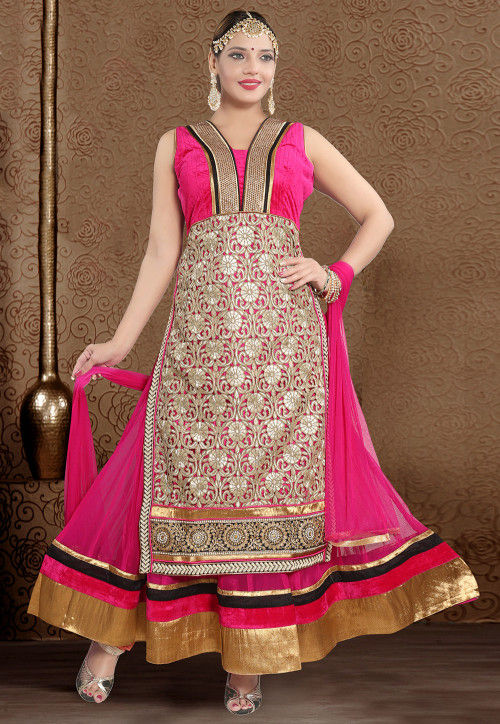 Embroidered Net Abaya Style Suit in Fuchsia and Golden