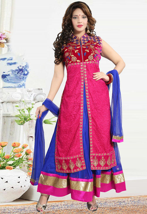 Embroidered Net Abaya Style Suit in Fuchsia and Royal Blue