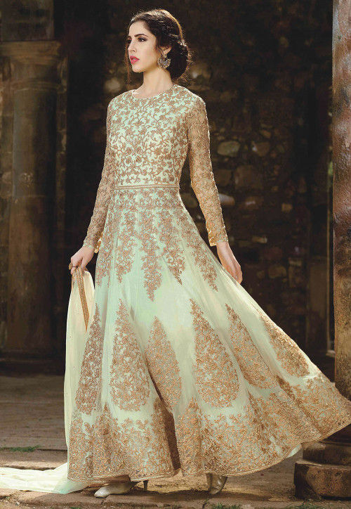 Embroidered Net Abaya Style Suit in Pastel Green