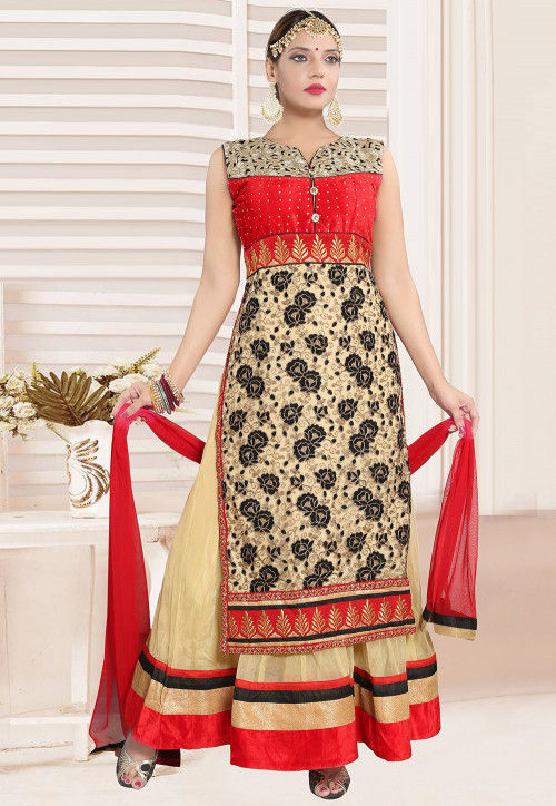 Embroidered Net Abaya Style Suit in Red and Beige
