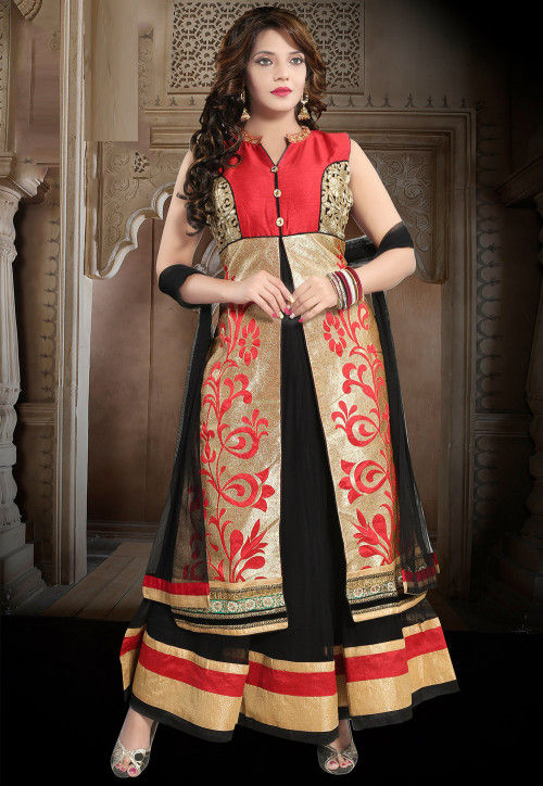 Embroidered Net Abaya Style Suit in Red and Black