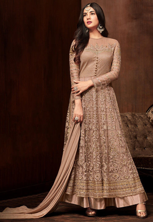 Embroidered Net Abaya Style Suit in Rose Gold