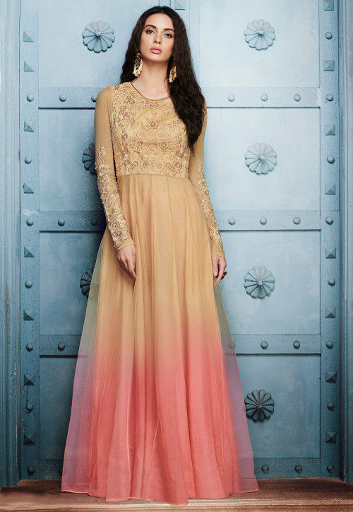 Embroidered Net Abaya Style Suit in Shaded Beige and Peach