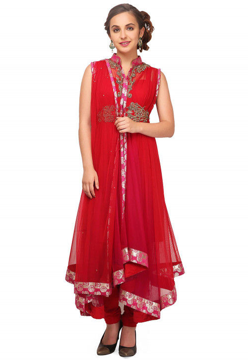 Embroidered Net Anarkali Suit in Fuchsia and Red