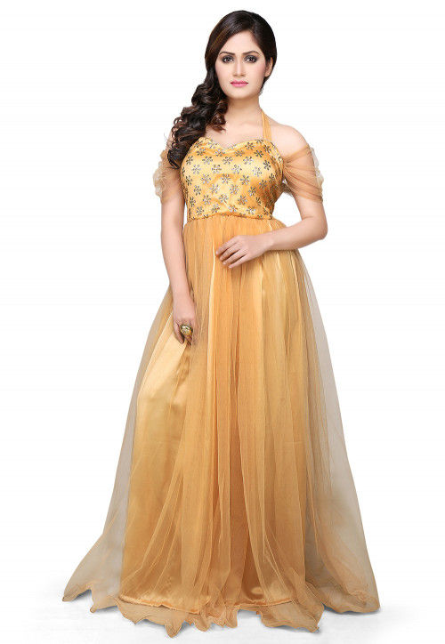 Embroidered Net Gown In Beige