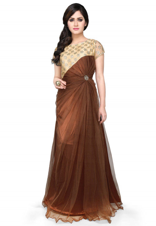 Embroidered Net Gown In Brown and Beige