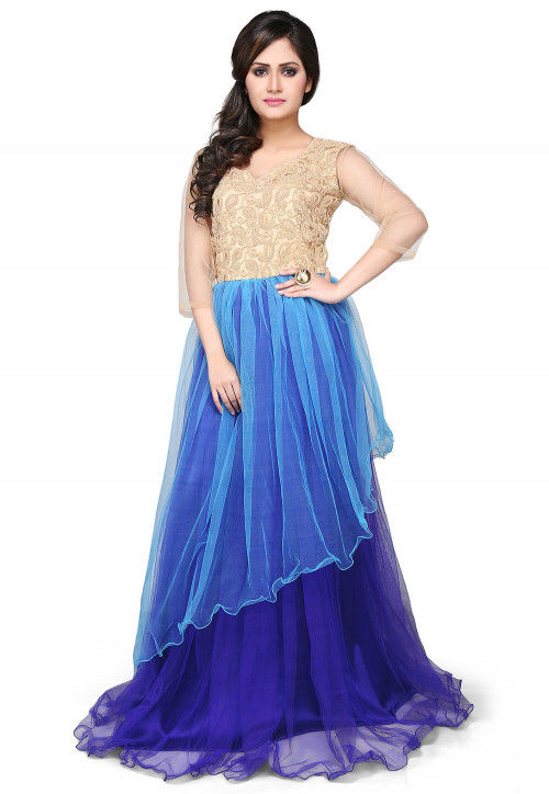 Embroidered Net Layered Gown In Blue