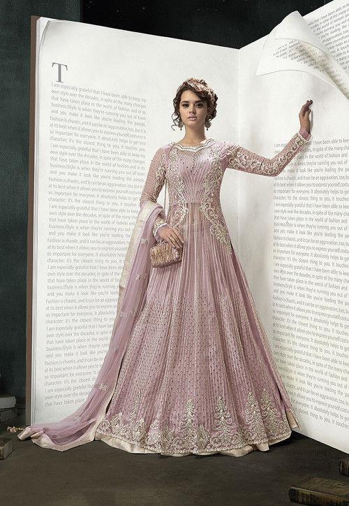 Embroidered Net Lehenga in Light Pink