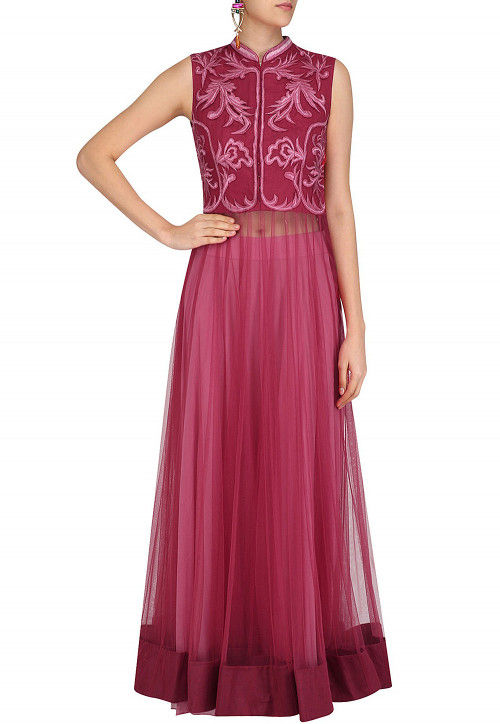 Embroidered Net Lehenga in Shaded Pink