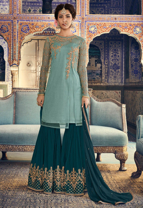 Embroidered Net Pakistani Suit in Light Blue