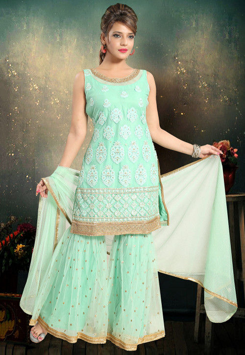 Embroidered Net Pakistani Suit in Sea Green
