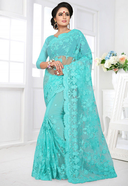 Embroidered Net Saree in Turquoise