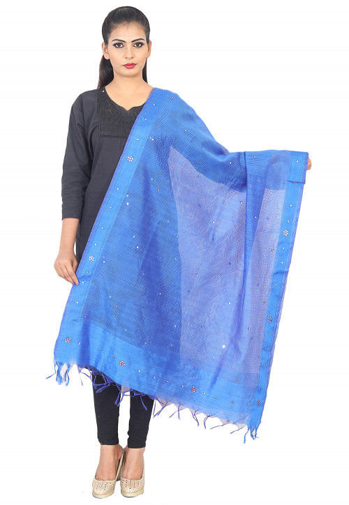 Embroidered Organza Dupatta in Blue