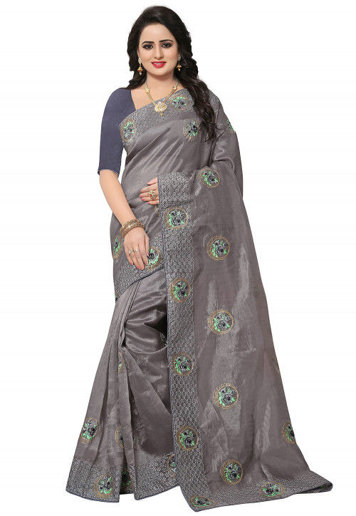 Embroidered Organza Saree in Grey