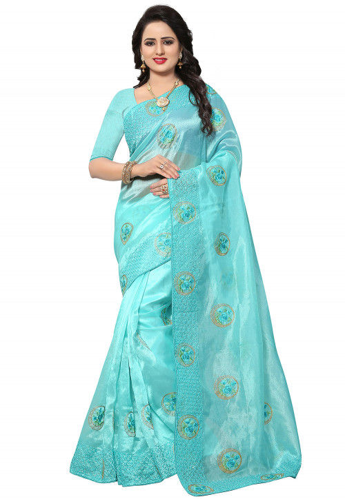 Embroidered Organza Saree in Turquoise