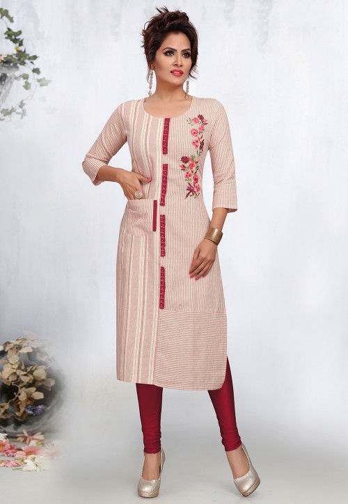 Embroidered Poly Cotton Straight Kurta in Off White and Pink