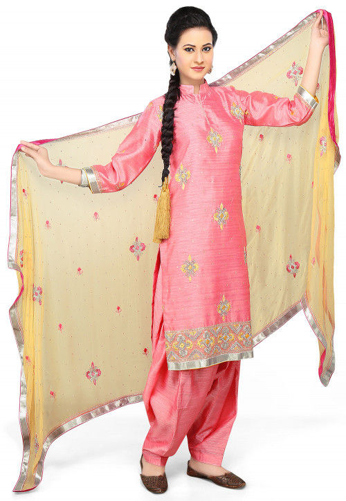 Embroidered Pure Crepe Jacquard Punjabi Suit in Pink