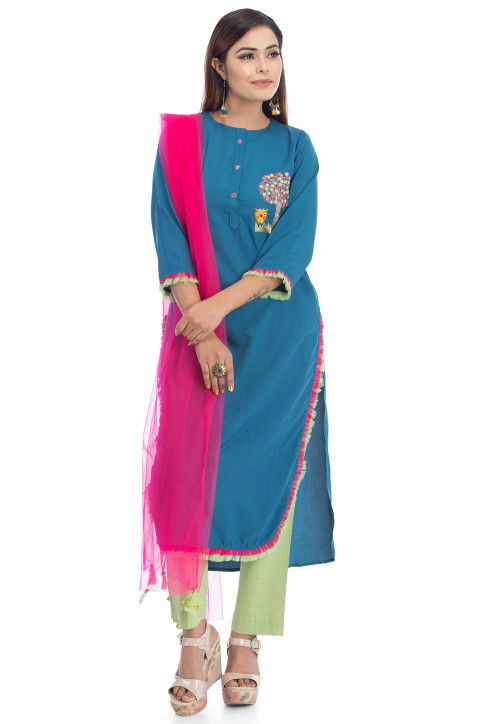 Embroidered Pure Crepe Pakistani Suit in Teal Blue