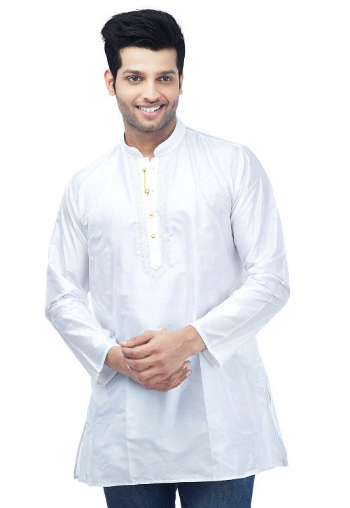 Embroidered Pure Silk Kurta in White