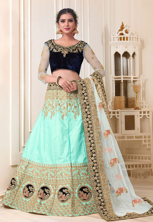 Embroidered Pure Silk Lehenga in Turquiose