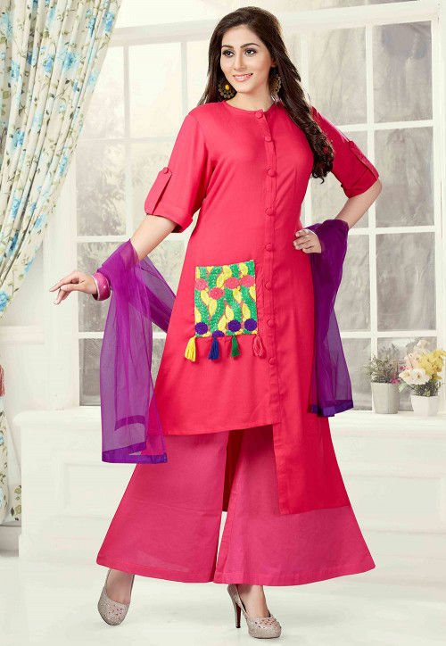 Embroidered Rayon Asymmetric Pakistani Suit in Fuchsia