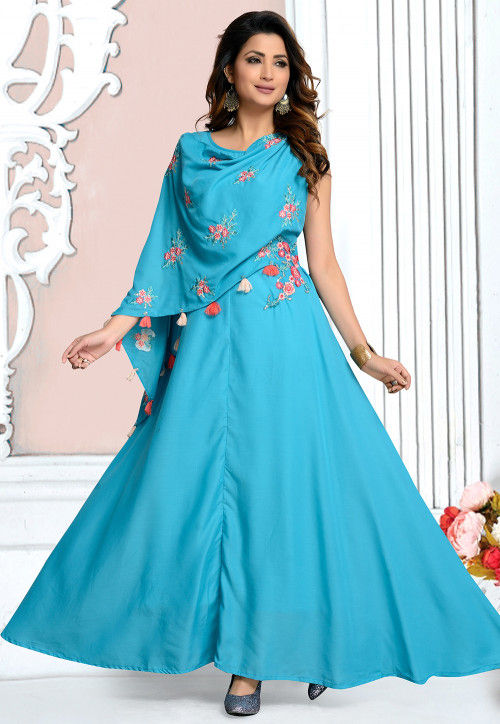 Embroidered Rayon Cape Style Kurta in Sky Blue