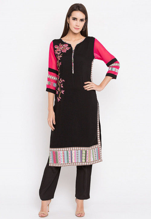 Embroidered Rayon Cotton Kurta in in Black and Fuchsia