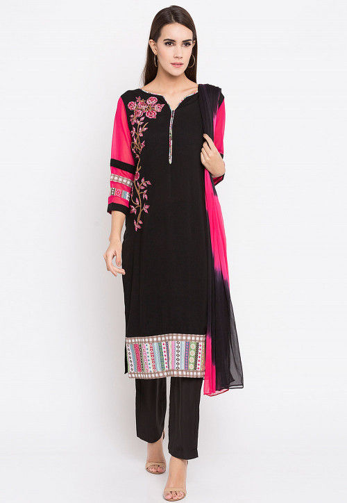 Embroidered Rayon Cotton Pakistani Suit in Black and Fuchsia
