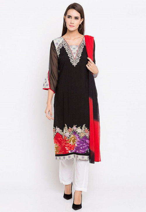 Embroidered Rayon Cotton Pakistani Suit in Black