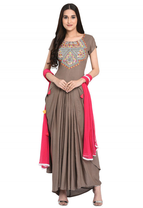 Embroidered Rayon Indowestern Lehenga in Fawn