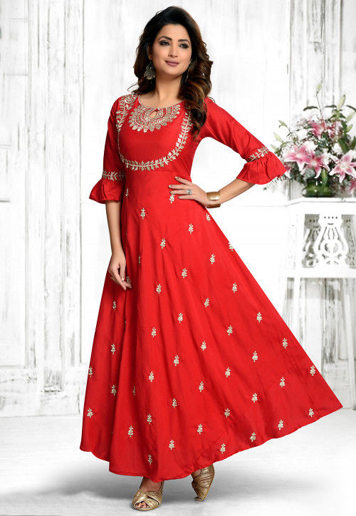 Embroidered Rayon Long Kurta in Red