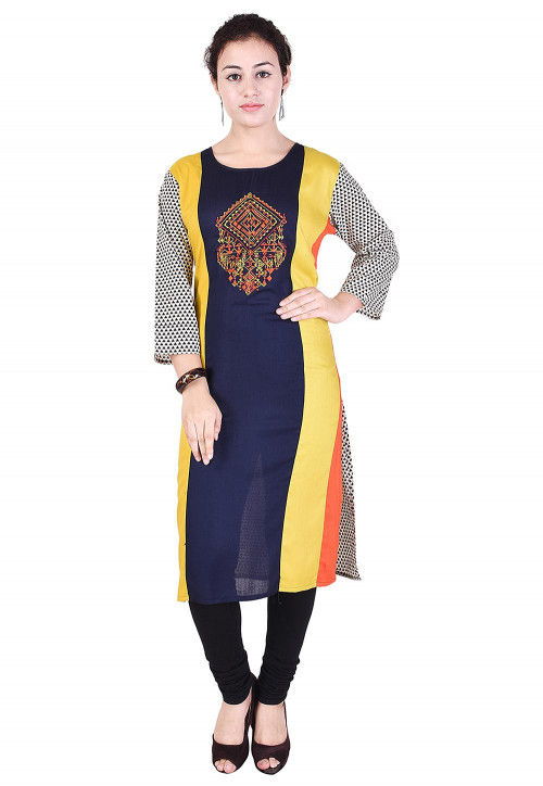 Embroidered Rayon Straight Kurta in Multicolor