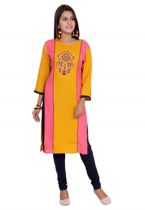 Embroidered Rayon Straight Kurta in Mustard and Pink