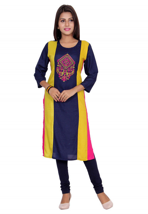 Embroidered Rayon Straight Kurta in Navy Blue and Yellow