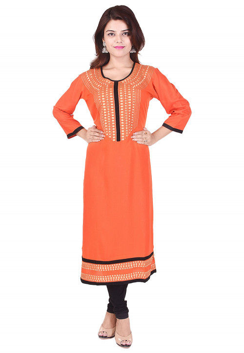 Embroidered Rayon Straight Kurta in Orange