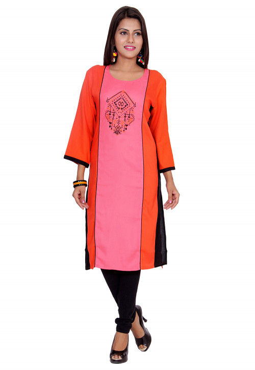 Embroidered Rayon Straight Kurta in Pink and Orange