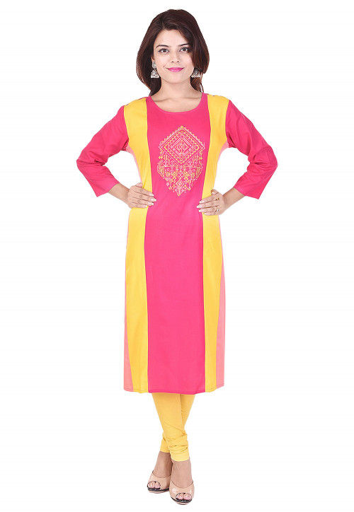 Embroidered Rayon Straight Kurta in Pink and Yellow