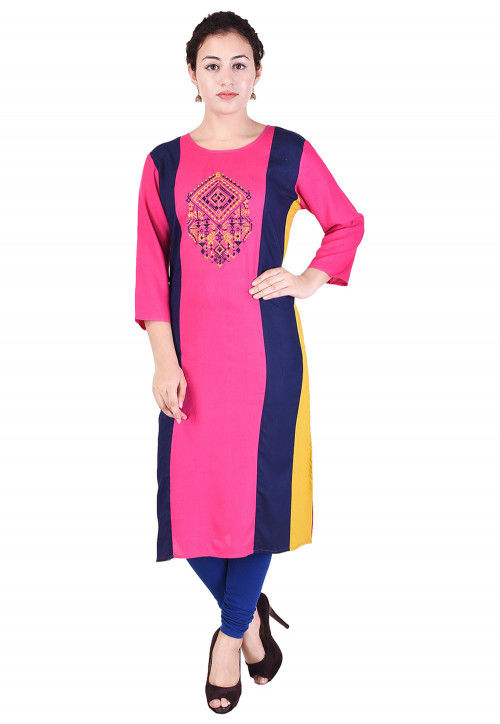Embroidered Rayon Straight Kurta in Pink