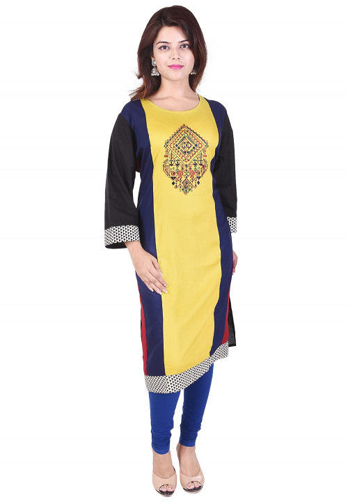 Embroidered Rayon Straight Kurta in Yellow and Navy Blue