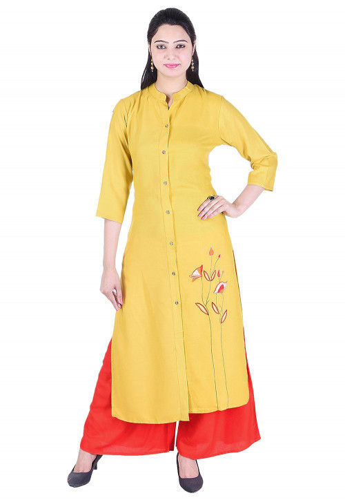 Embroidered Rayon Straight Kurta in Yellow