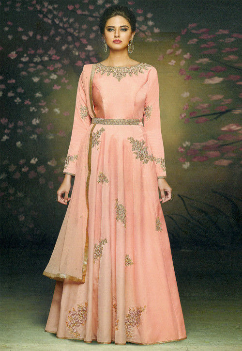 Embroidered Satin Abaya Style Suit in Peach