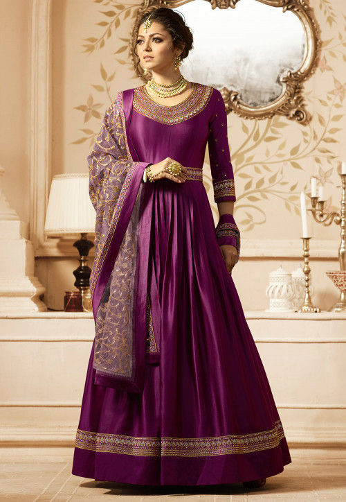Embroidered Satin Abaya Style Suit in Violet