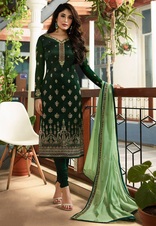 Embroidered Satin Georgette Jacquard Straight Suit in Dark Green