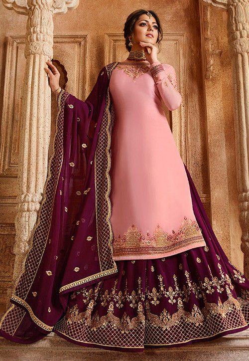 Embroidered Satin Georgette Lehenga in Baby Pink