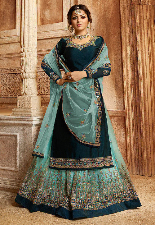 Embroidered Satin Georgette Lehenga in Dark Teal Blue