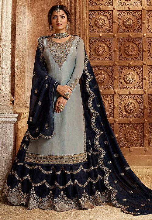Embroidered Satin Georgette Lehenga in Grey