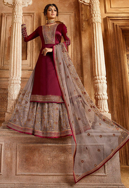 Embroidered Satin Georgette Lehenga in Maroon
