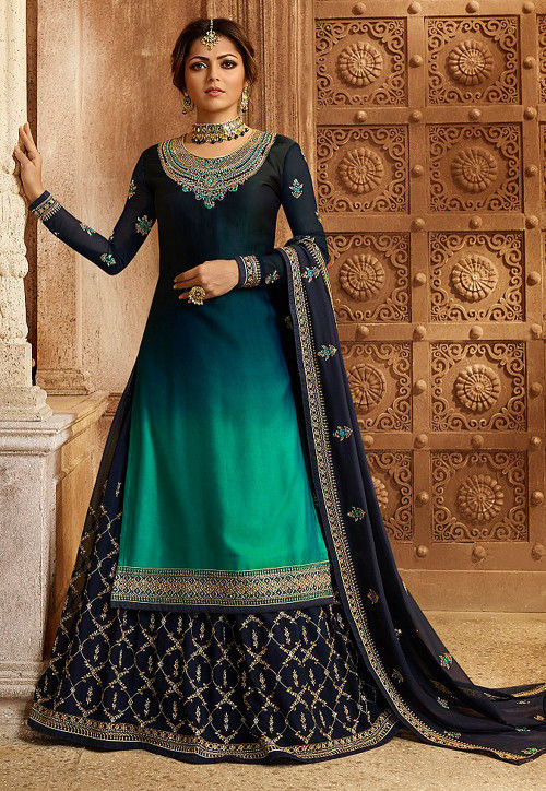 Embroidered Satin Georgette Lehenga in Navy Blue and Teal Green