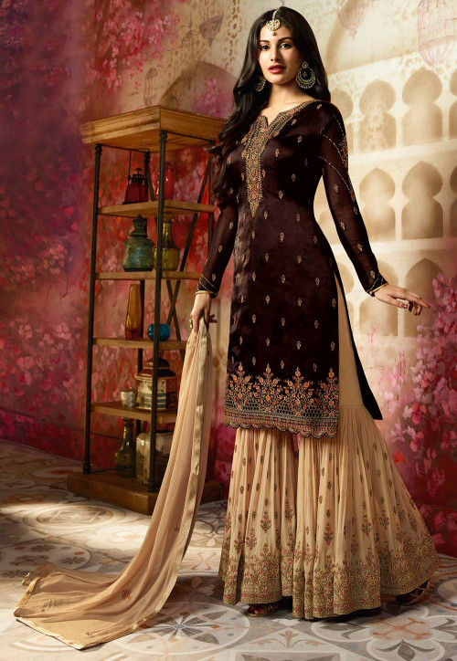 Embroidered Satin Georgette Pakistani Suit in Brown